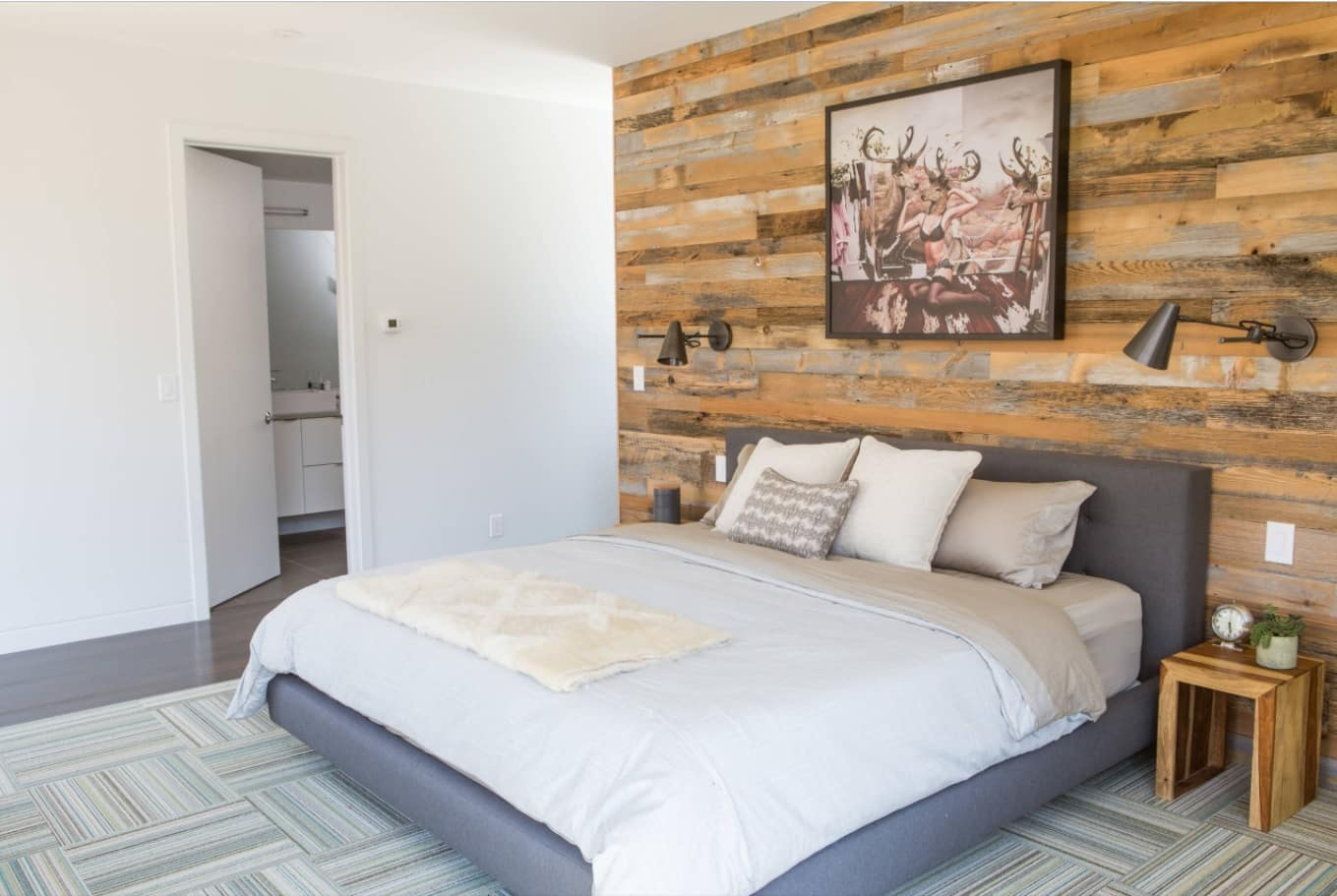 Home Remodeling & Renovation Ideas: 4 Ways to Update Your Home. Recycled wooden pallet accent wall in the bedroom