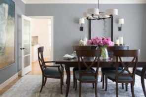 Home Remodeling & Renovation Ideas: 4 Ways to Update Your Home. Nice calm gray color for the traditional dining room