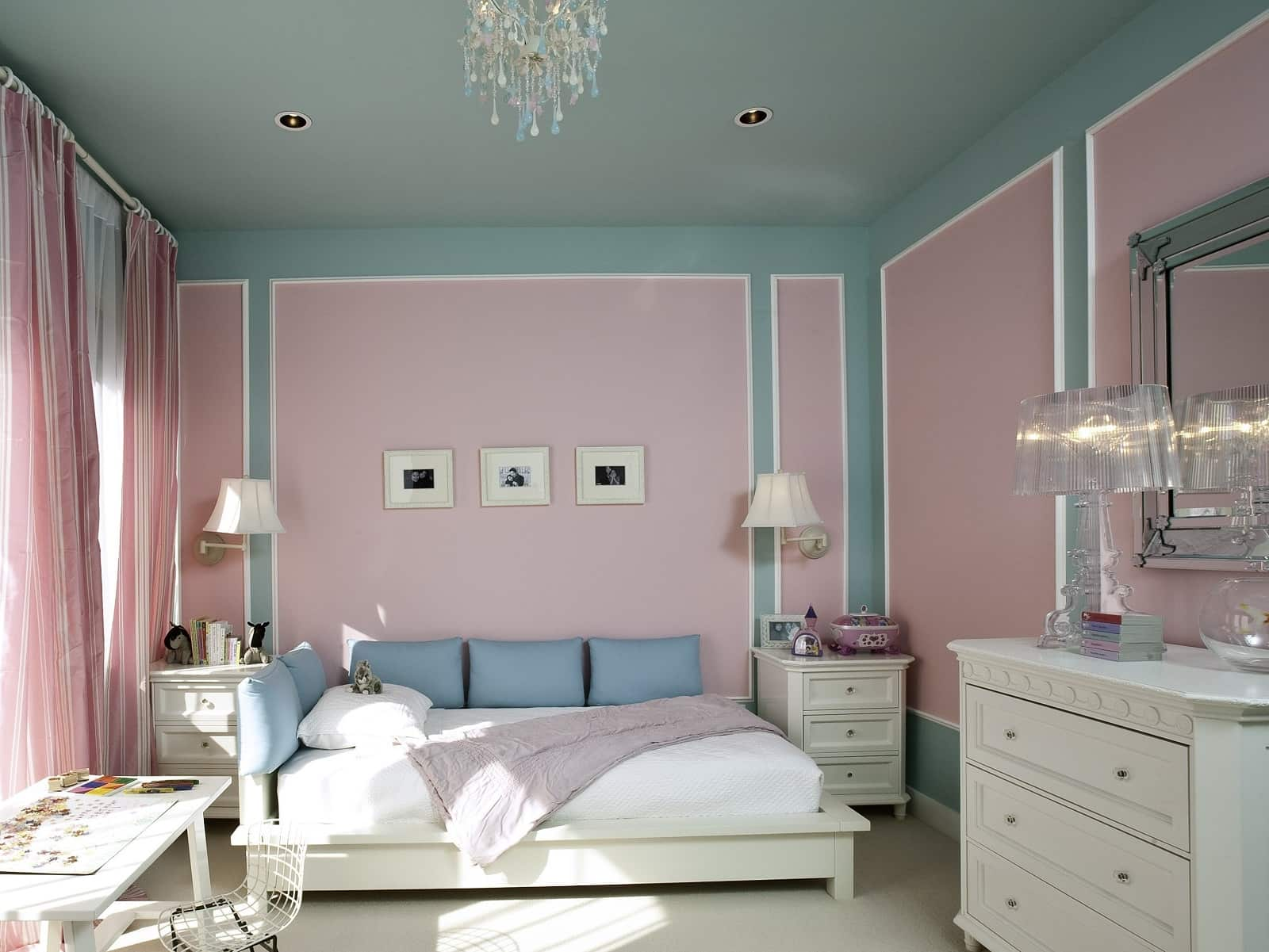 Home Remodeling & Renovation Ideas: 4 Ways to Update Your Home. Pink and blue color palette for large feminine bedroom with painted walls