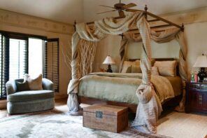 Bed Canopy in the Bedroom Interior Photo Ideas. Thick cloth for the canopy in the country style with beige color scheme