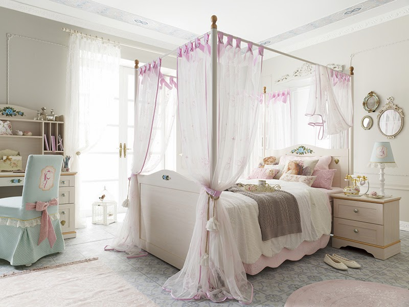 Neat and tender bedroom arrangement with a high queen-size bed and tulle bed canopy on pink straps