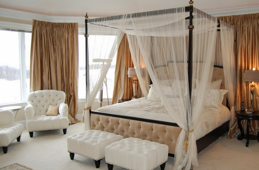 Quilted legboard, two ottomans and black wooden frame for subtle tulle bed canopy