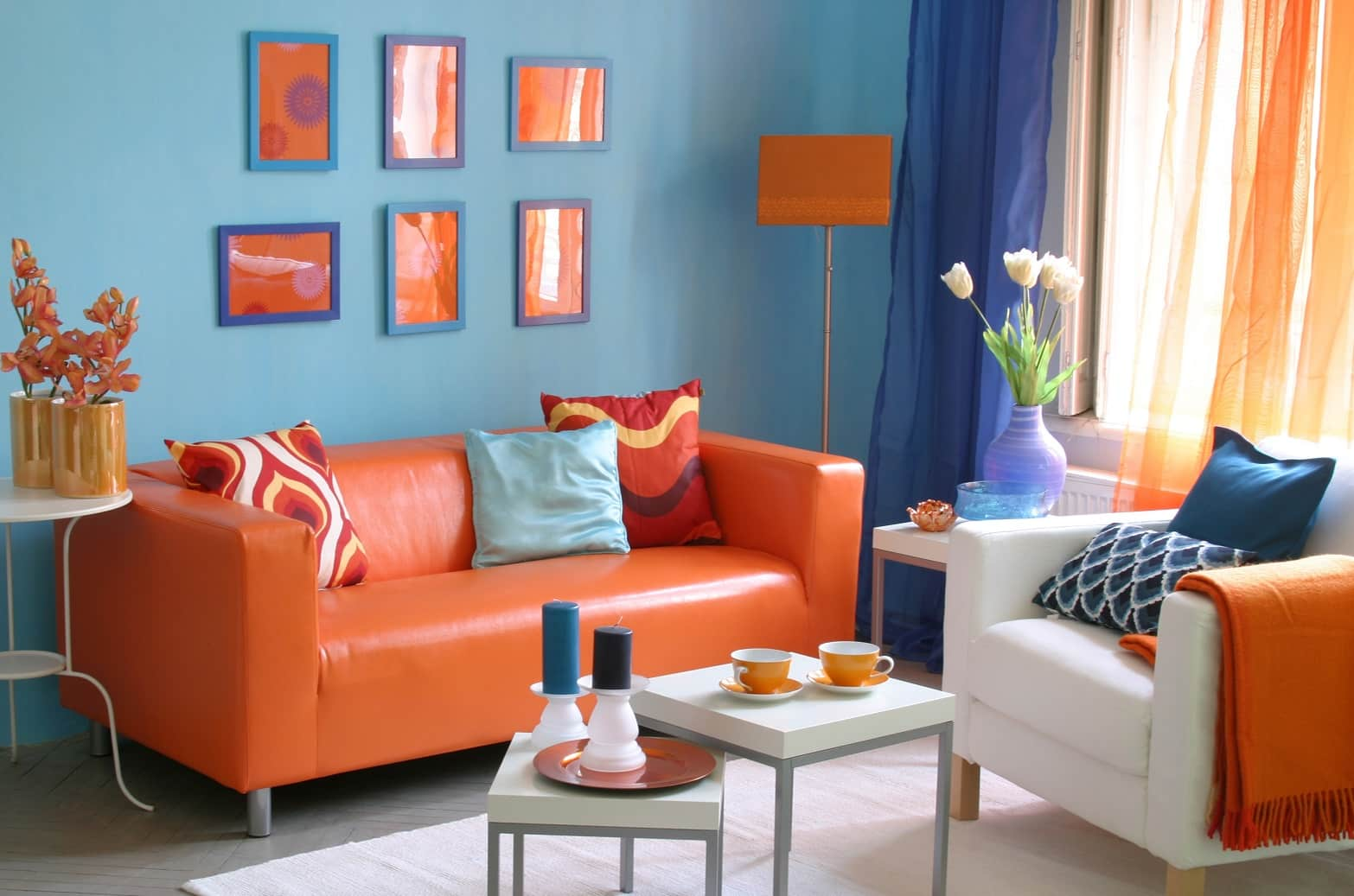 Turning Your Home into Heaven - Smart Ideas to Make it Happen. Colorful interior design with orange leather and orange picture collection