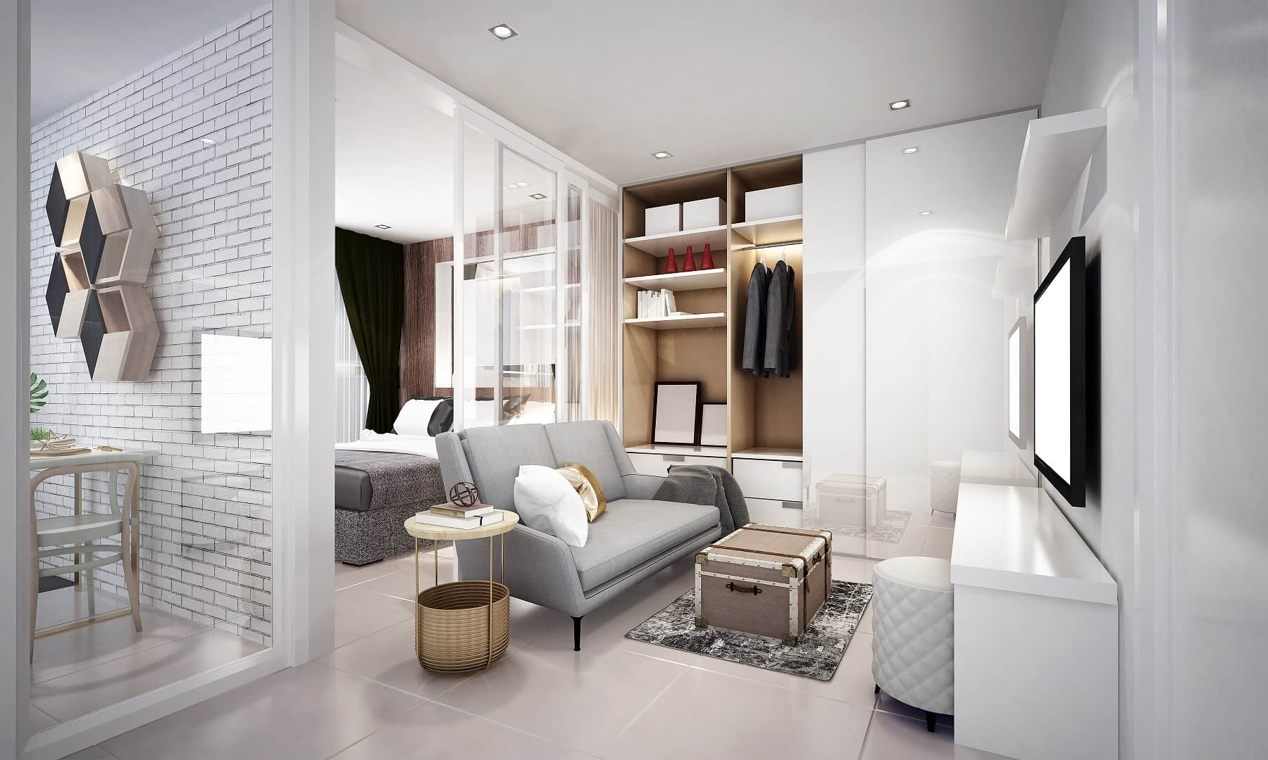 Turning Your Home into Heaven - Smart Ideas to Make it Happen. Well-organized interior space of the gray and white living room with glossy surfaces