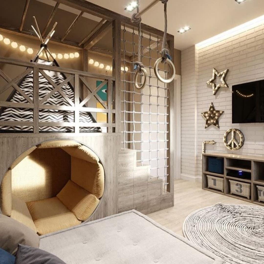 3 Things to Consider when Designing a Kid's Room. Great entertaining playground in gray/brown tones for a teenager