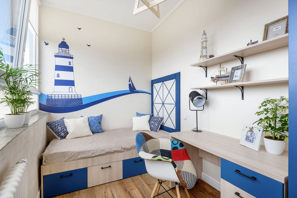 3 Things to Consider when Designing a Kid's Room. White and blue Nautic theme for small yet very compact and functional room