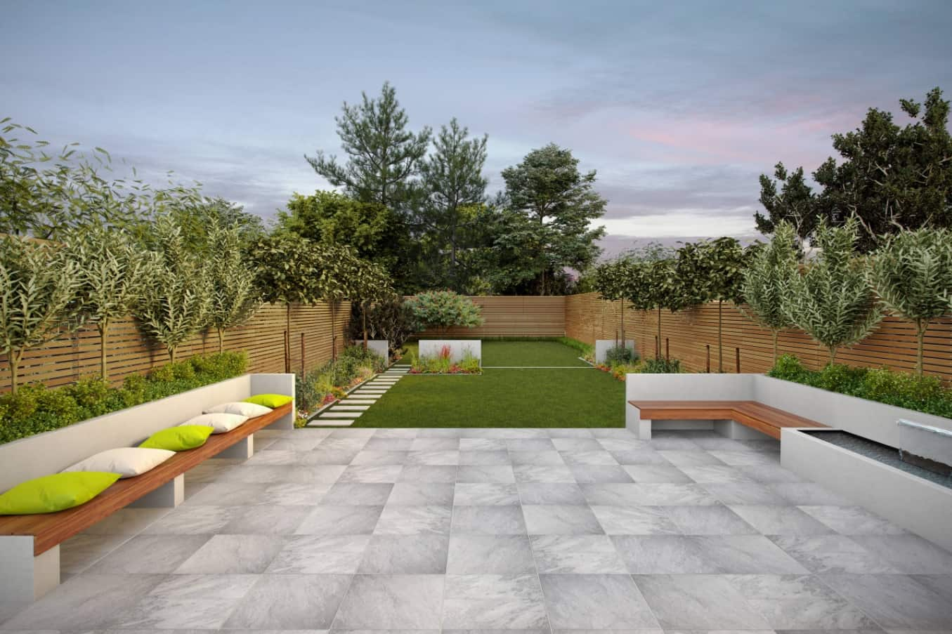 Top Tips for Designing Your Patio. Great modern design and concrete slabs at the open rest zone at the backyard