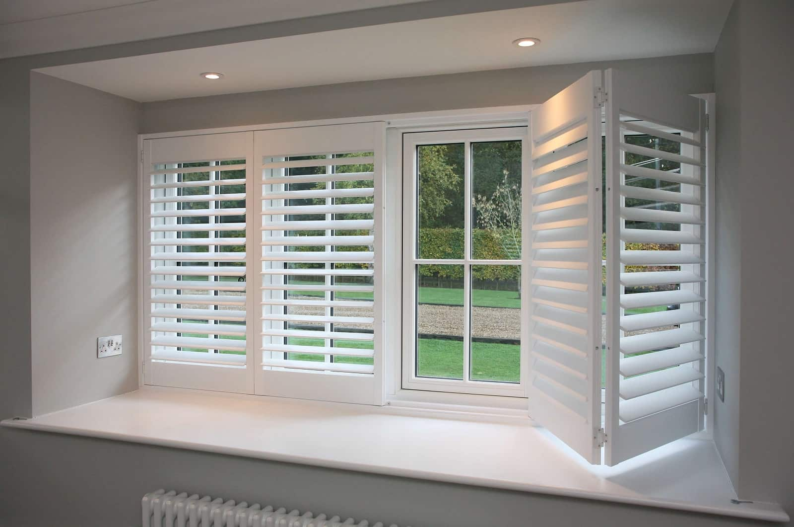 How to Buy the Right Plantation Shutters for Your House. Staged house interior of casual style in gray color