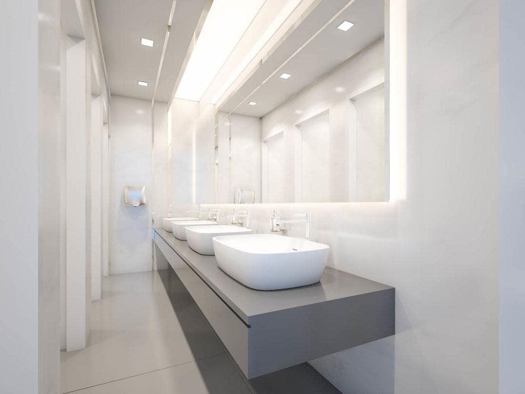 Large bathroom full of hidden backlight with granite hovering vanity slab