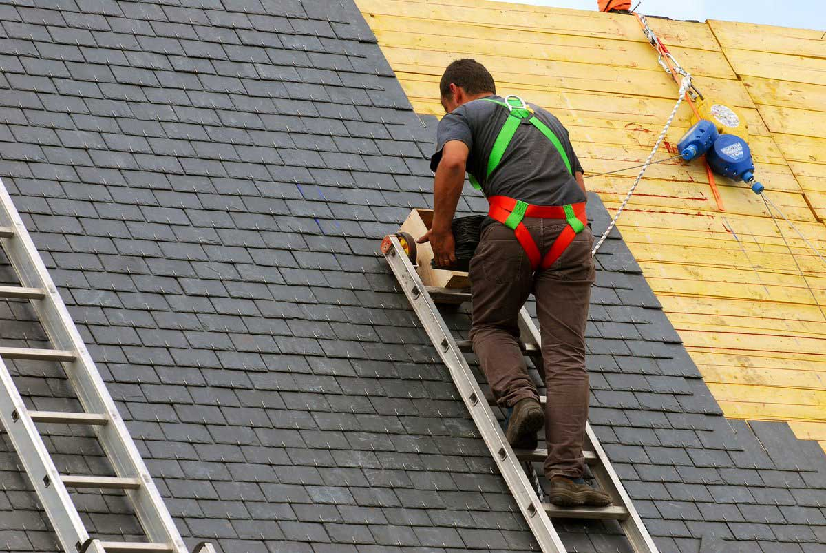 5 Effective Tips for Renovating Your Home's Roof. The roofer shaething the covering layer