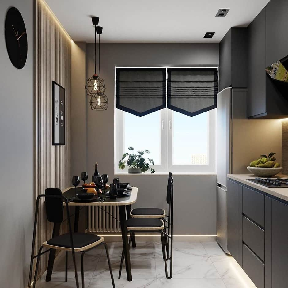 Pros and Cons of Small Kitchens. Gray designed kitchen with dark dining set