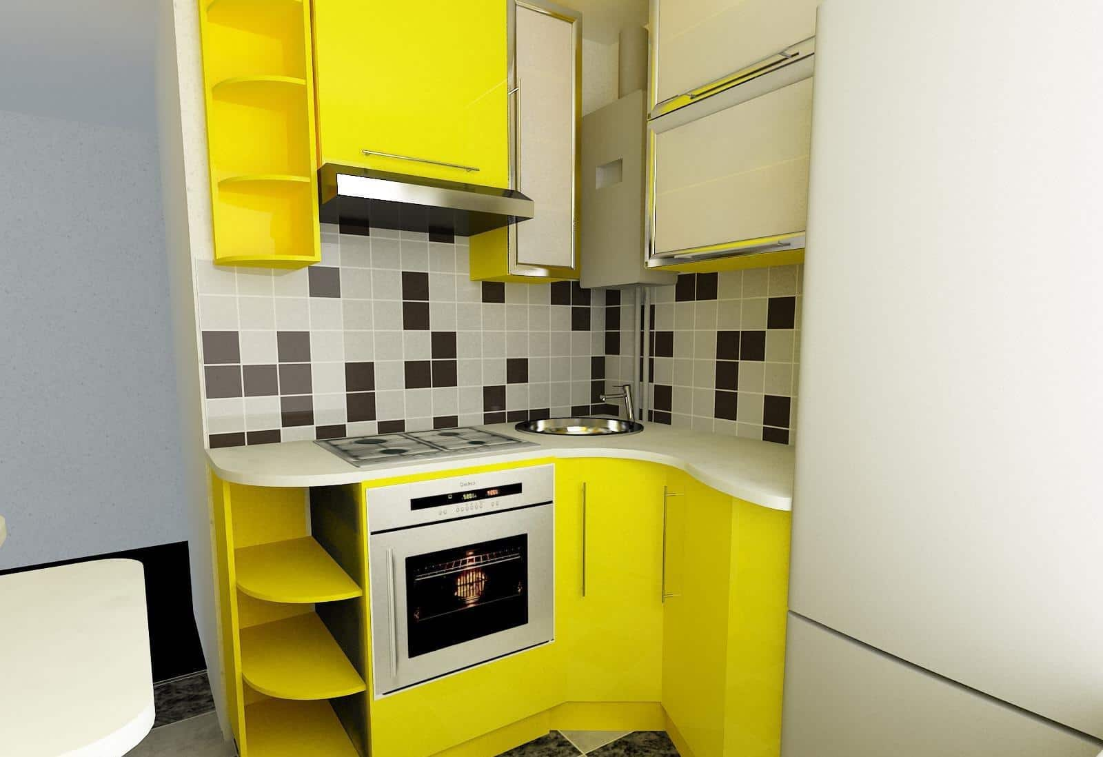 Pros and Cons of Small Kitchens. Neat yellow design of the furniture