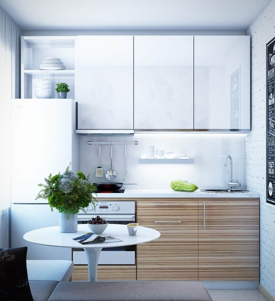 Pros and Cons of Small Kitchens. Complex space with living room combined with kitchen via bar counter