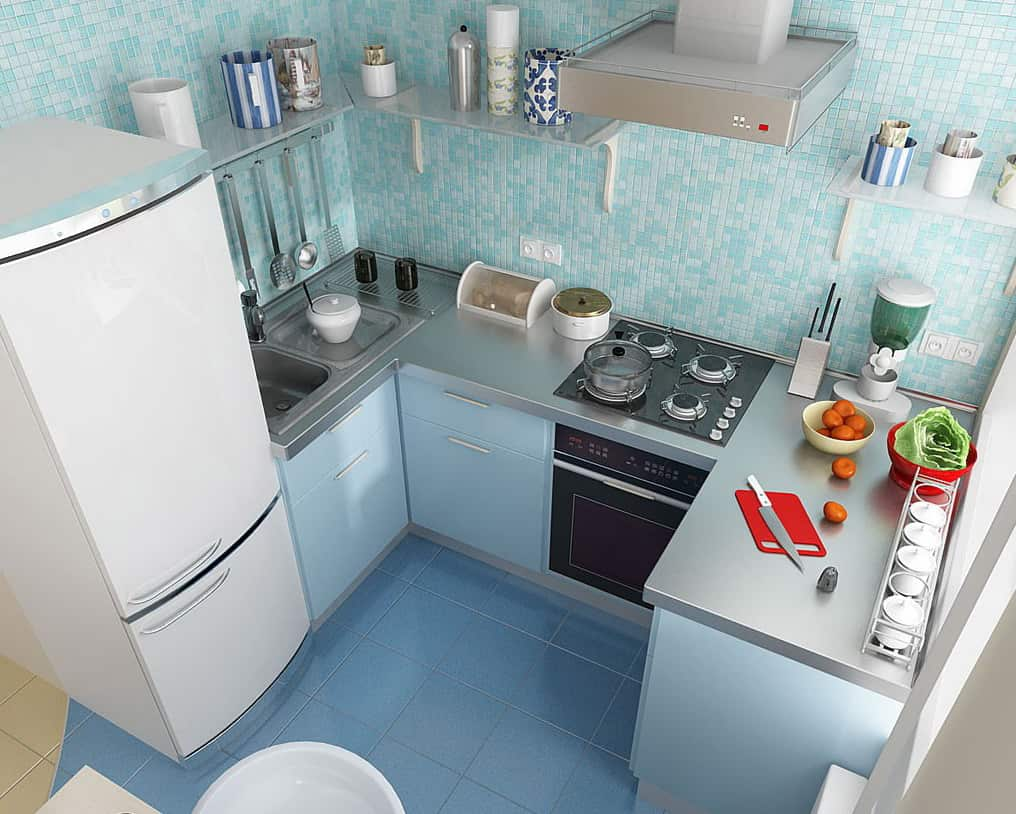 Nice well-organized turquoise small kitchen design