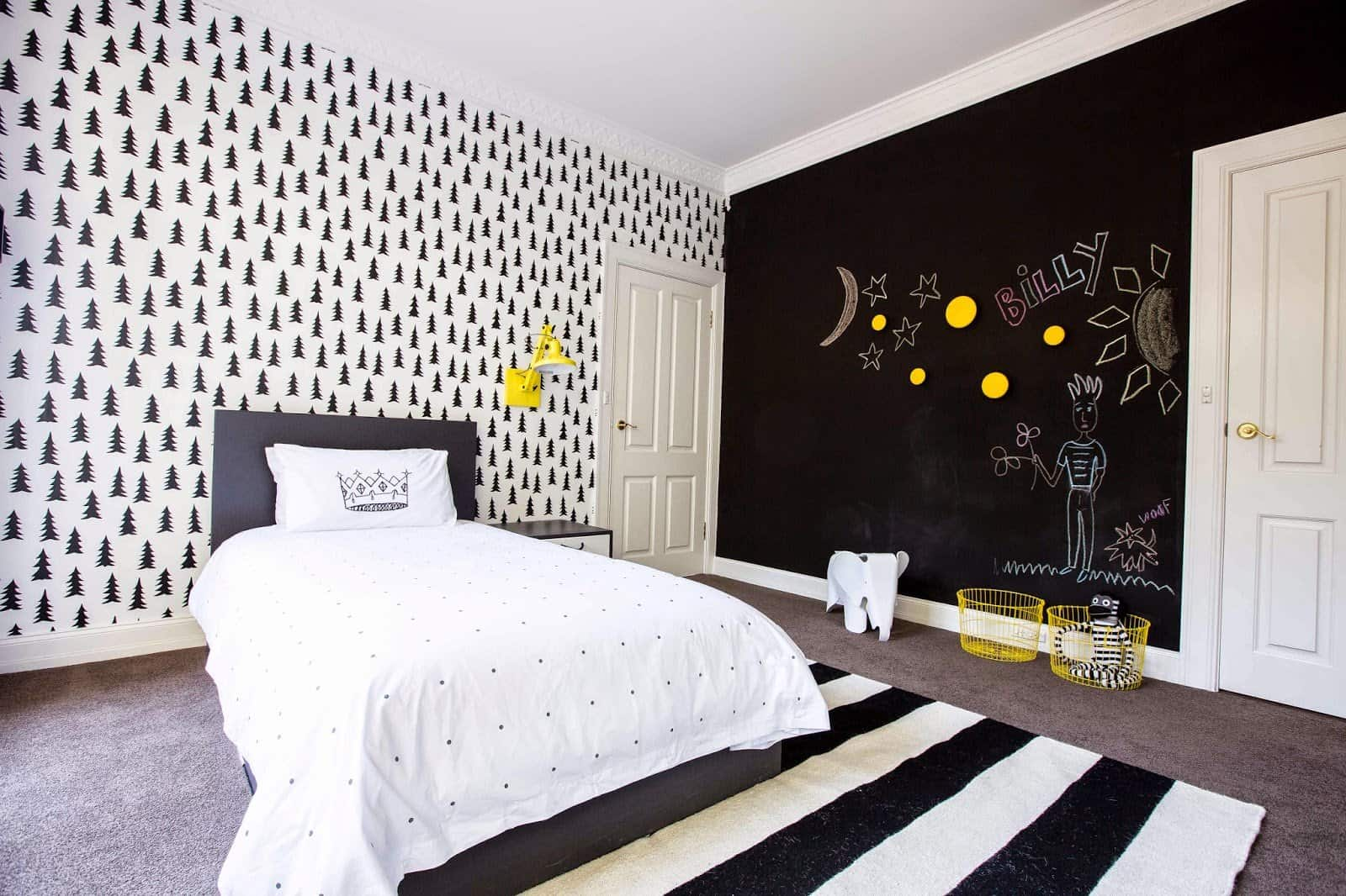 Dark accent wall and dark pattern on the white wallpaper and king size bed with dark headboard