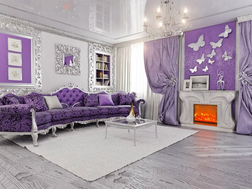 Classic living room with velvet colored furniture