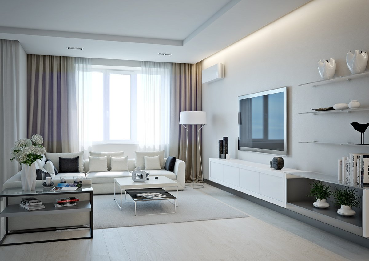 Modern designed living room with perimeter ceiling LED backlight and large window