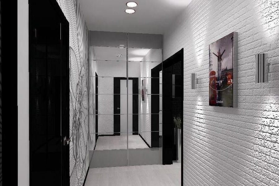Whitewashed faux brickwork with glossy paint and black accents in the corridor