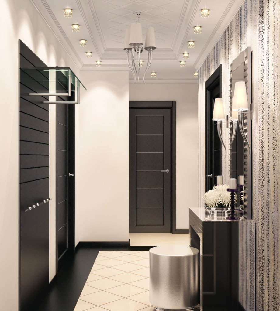Modern styled hallway with muted LED lighting, black doors and small vanity