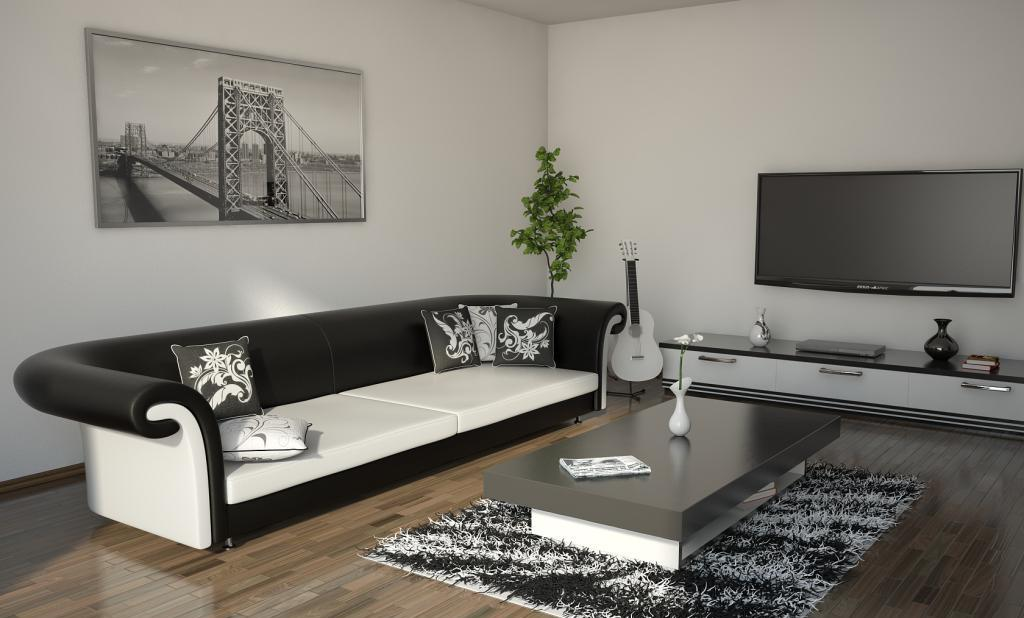 Cozy living room in contrasting colors and with low-key setting
