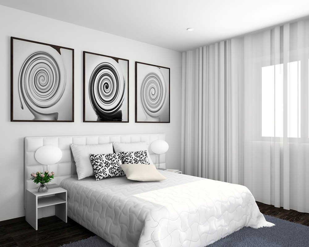 Black and white headboard pictures in modern boxed room with hidden curtain rod