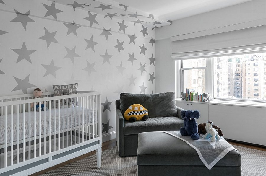 Starry silkscreen wallpaper for one accent wall in the children's room with gray furniture