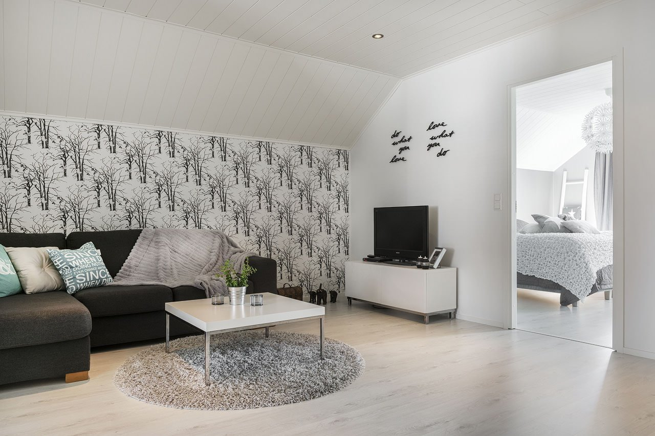 White Wallpaper Interior Design Ideas. Dark casual pattern on the accent wall