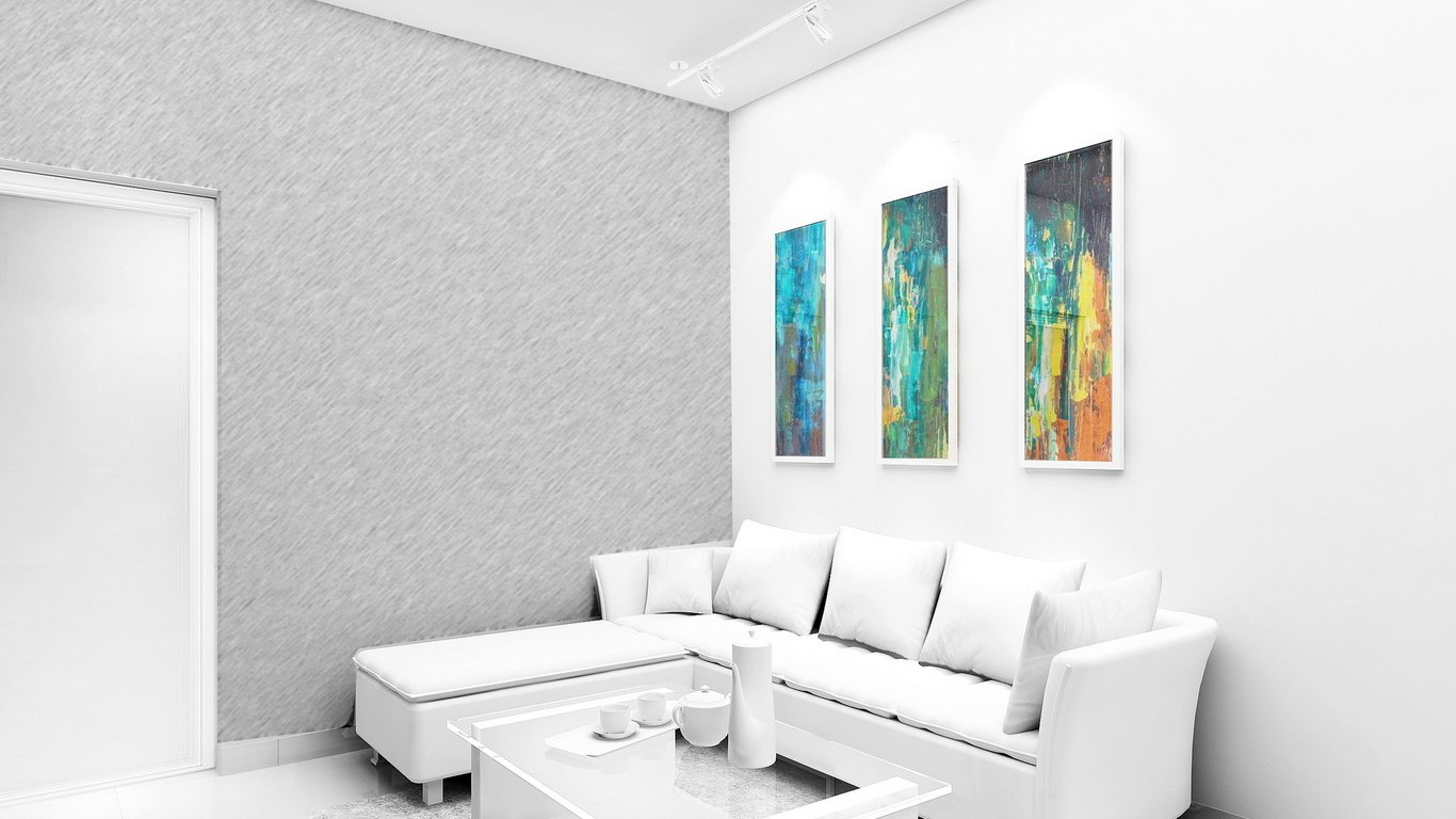 White Wallpaper Interior Design Ideas. Three colorful paintings