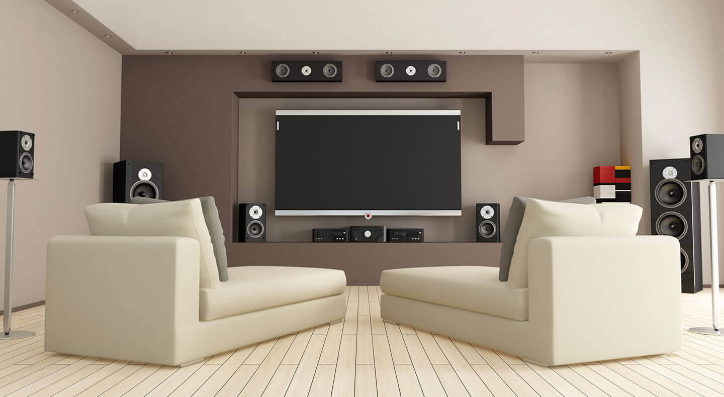 14 Marvelous Ideas for a Home Extension Design. dark brown colored walls and light wooden tint of the furniture and floor at the home cinema