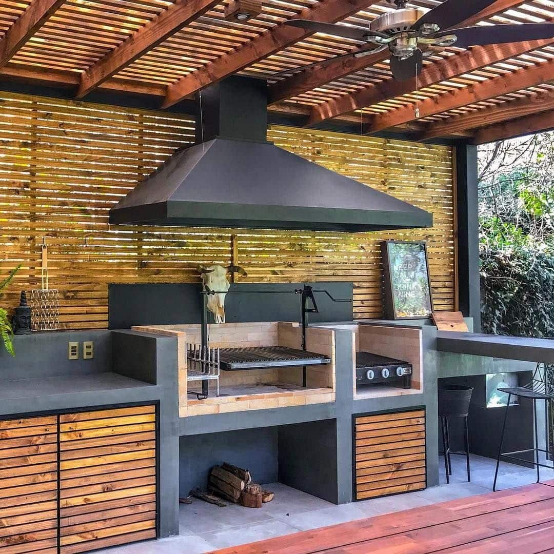 14 Marvelous Ideas for a Home Extension Design. Jungle style at the open kitchen with BBQ zone under the planked roof