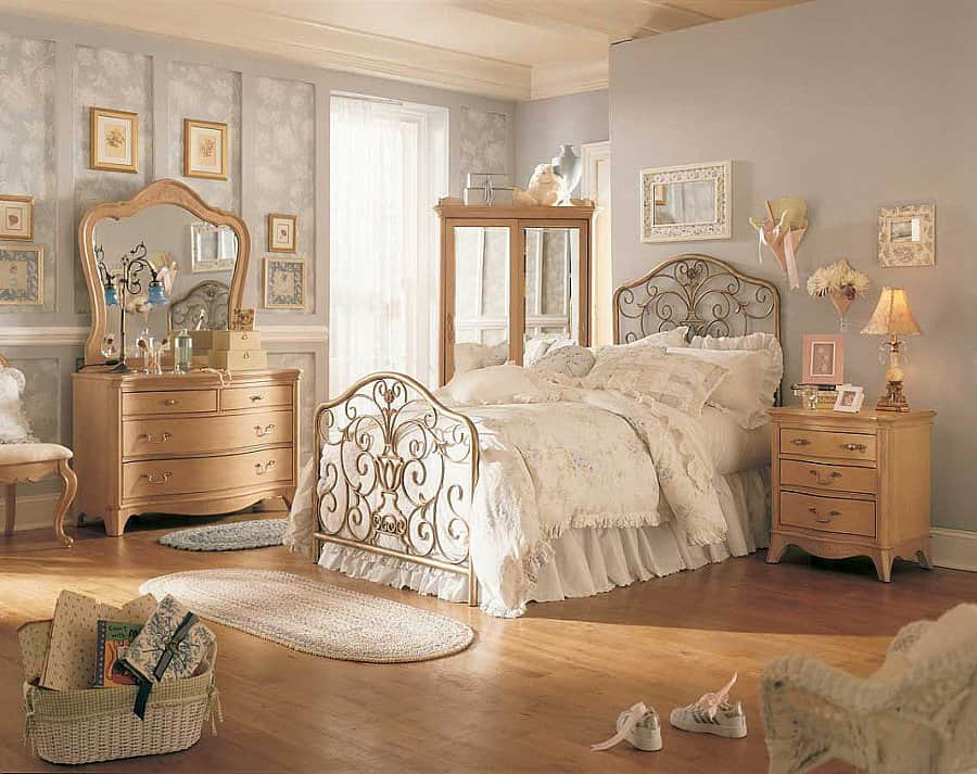10 Fascinating Bedroom Designs. Vintage style for the room with wavy lined wooden furniture and wrought iron bed