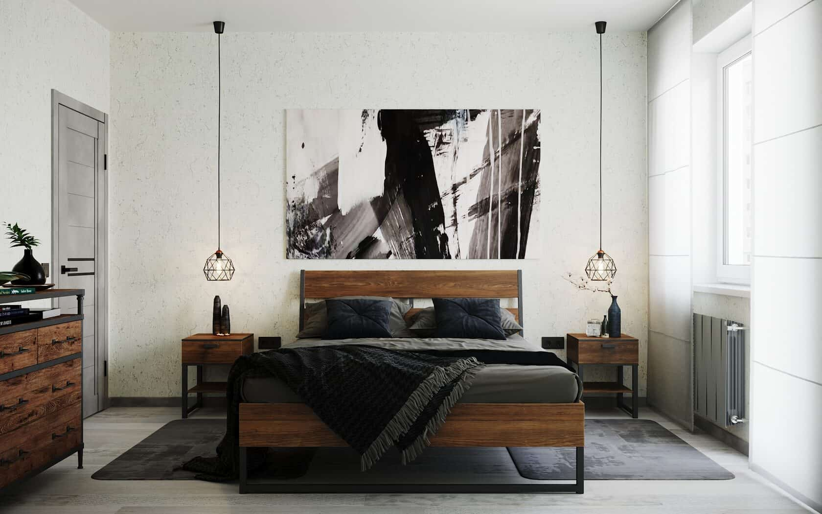 10 Fascinating Bedroom Designs. Urban loft design with wooden bed, nightstand and light colored walls