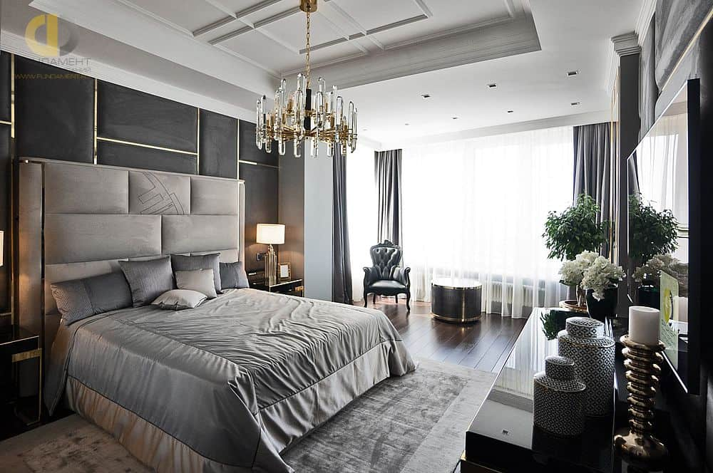 10 Fascinating Bedroom Designs. Art Deco styled spacious room with light gray color scheme