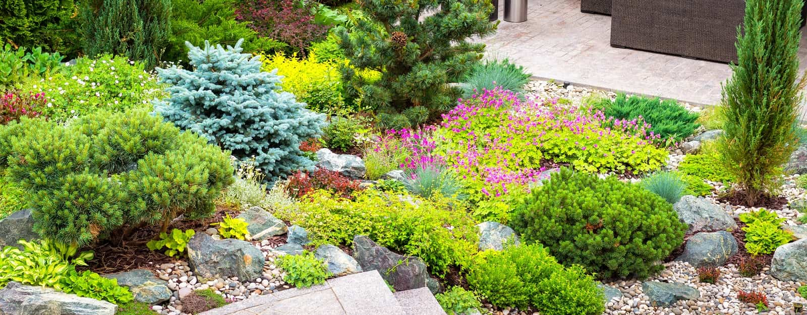 8 Landscaping Hacks To Make Your Backyard Look Bigger. Different types of trees and all palette of green with red inlays