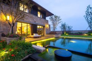 15 Outside Lighting Ideas To Brighten Your Home. Great ultramodern exterior design of the stone cladded house and masterfully arranged area with LED-lighted pool