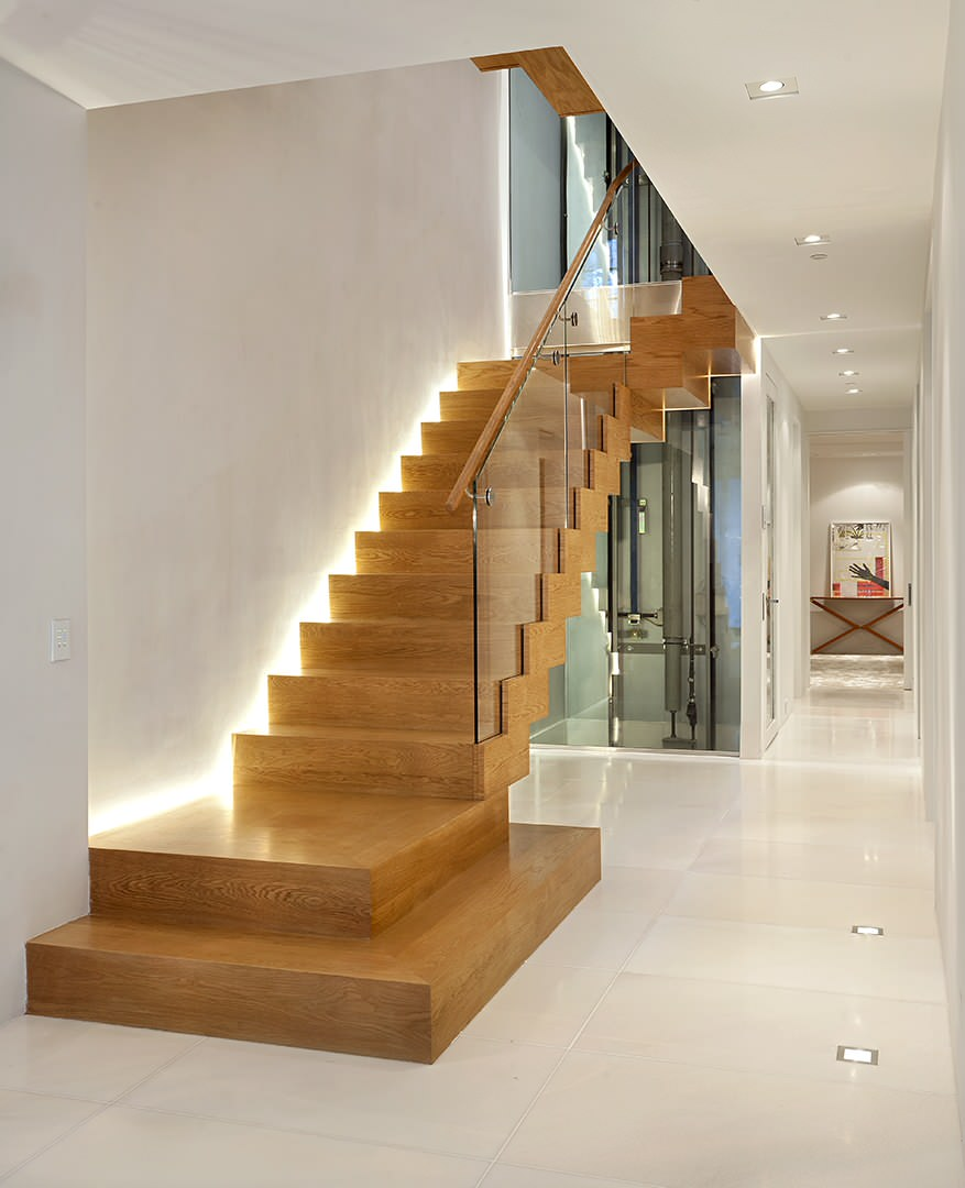 5 Ways To Prevent Falls, Slips, And Trips On Your Staircase. LED backlighting of the wooden laminated modern stairs