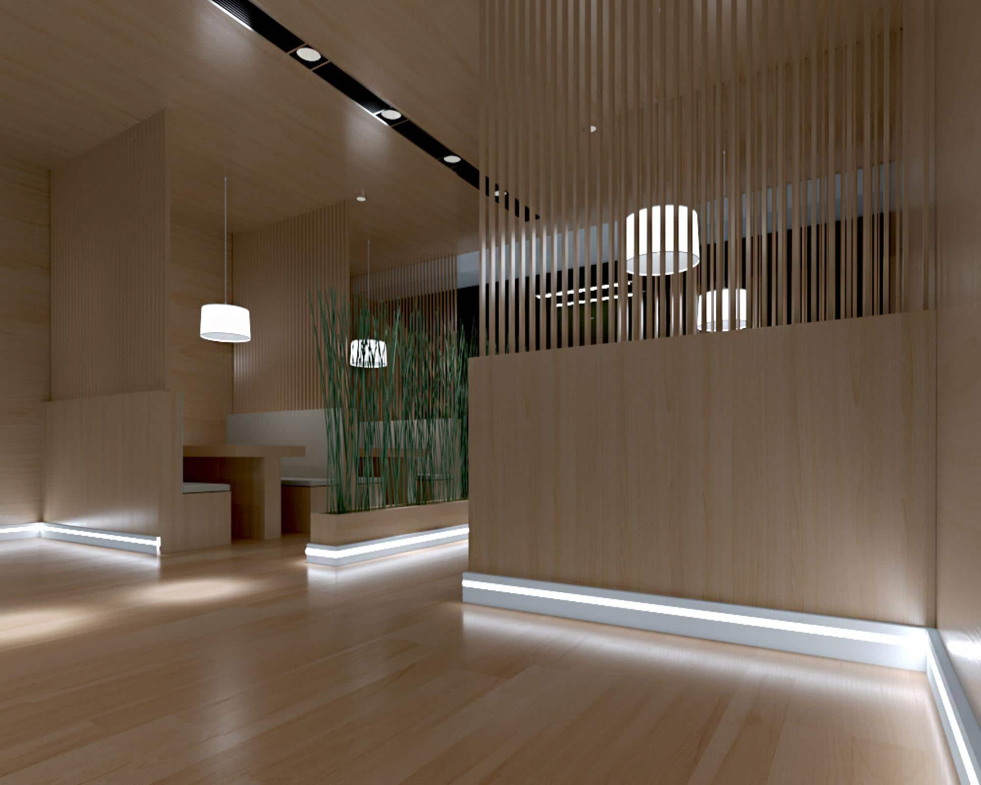 Ways for Using LED Strip Tapes. Down part wall lighting for the interior partition