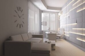 Ways for Using LED Strip Tapes. White 3D panels for accent wall in the modern designed living room