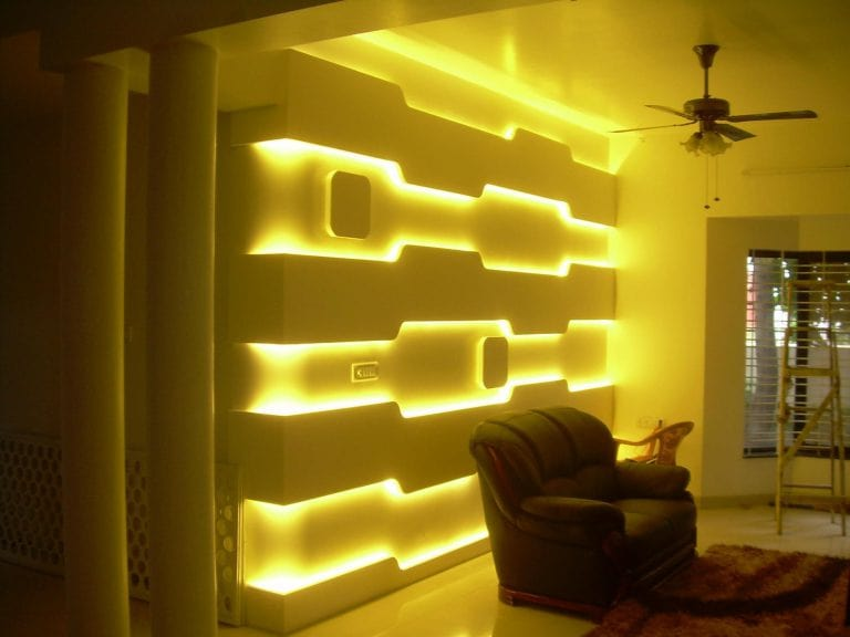 Ways for Using LED Strip Tapes. unusual yellow backlighing built right into the wall
