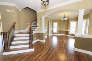 Remodeling Your House With The Help Of DIY Tutorialsю Successful renovation in pastel colors with double level painting and noble dark wooden floor