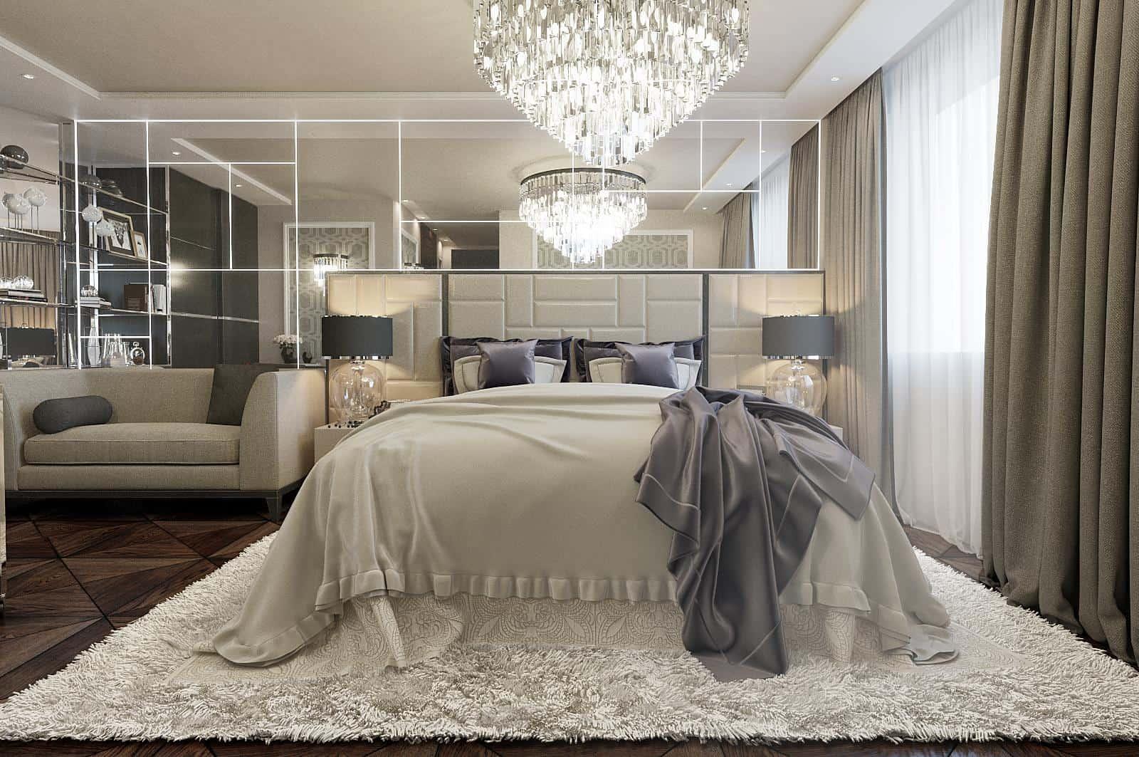 Boudoir Interior Design Ideas for the Refined Woman's Taste. Classic design with mirroring closet