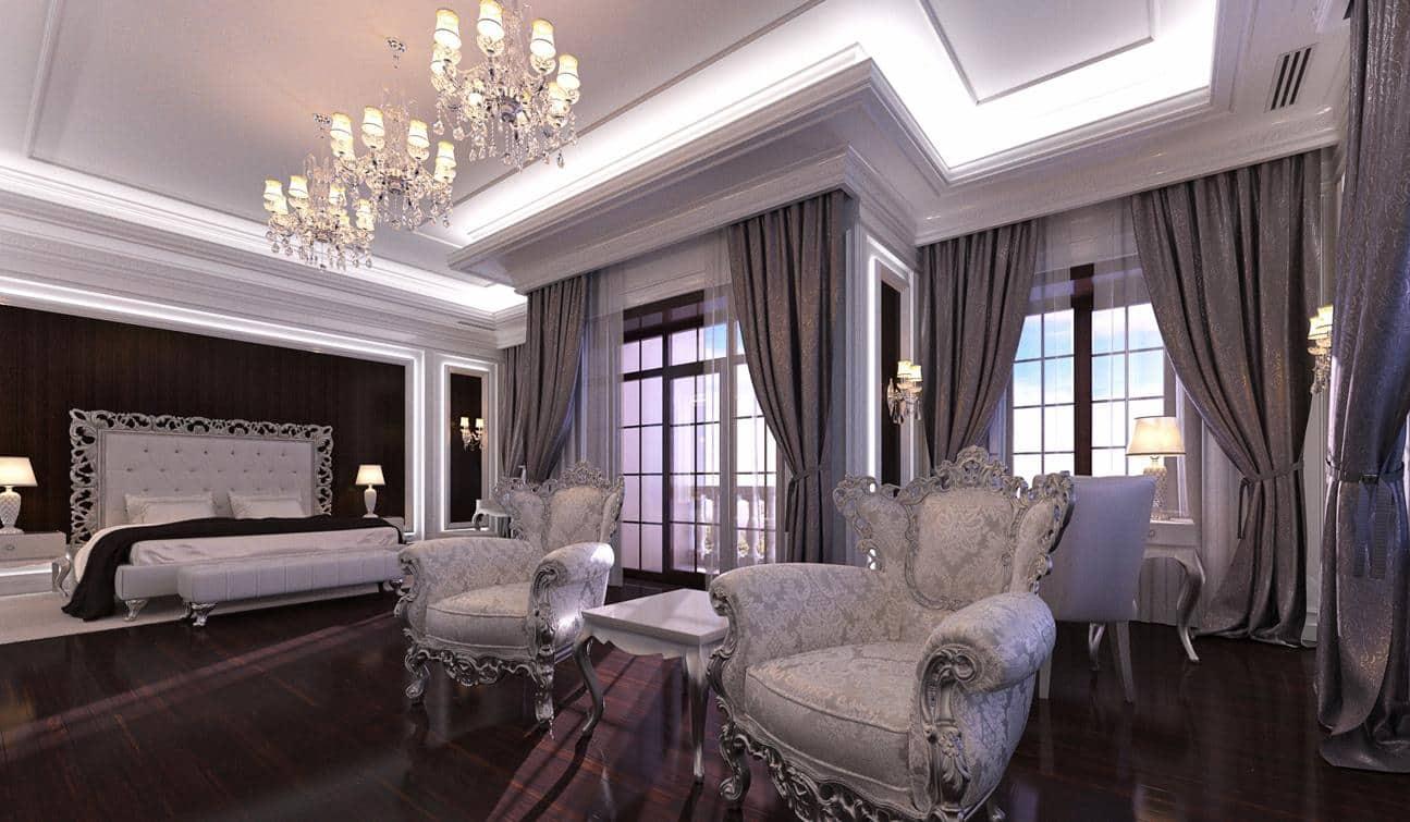 Organic mix of modern LED lighting and abundance of chic Rococo decoration