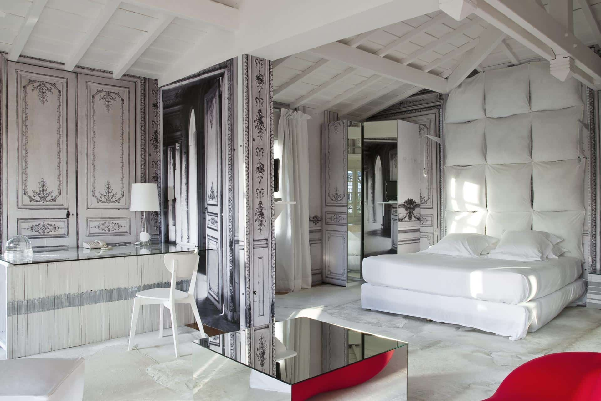 Gray and white minimalistic boudoir