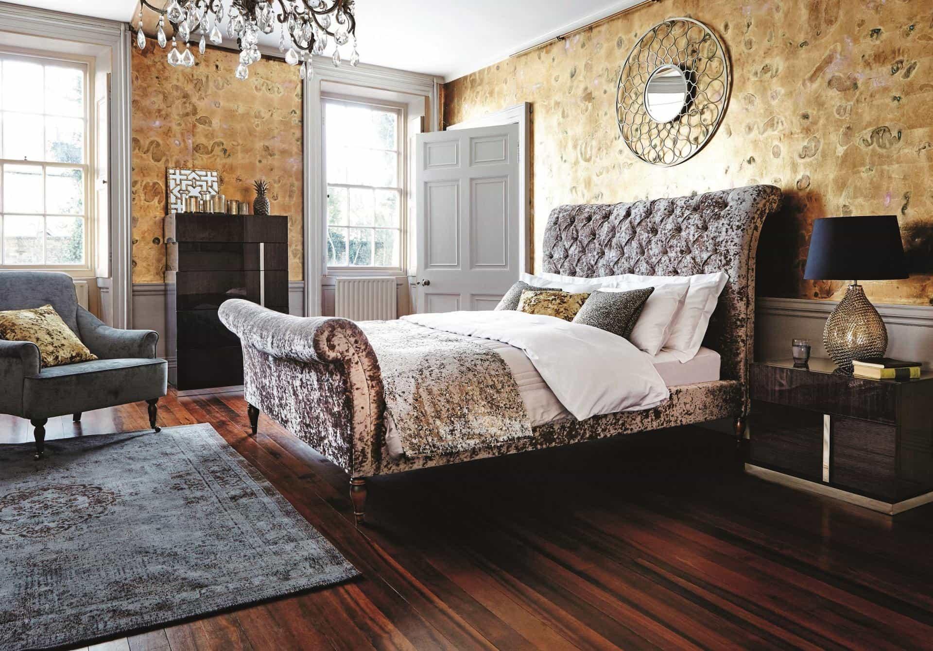 Art deco styled feminine bedroom with wooden floor
