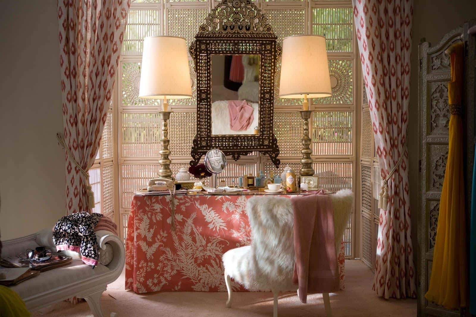 Boudoir Interior Design Ideas for the Refined Woman's Taste. Red and pink color scheme with a lot of drapery