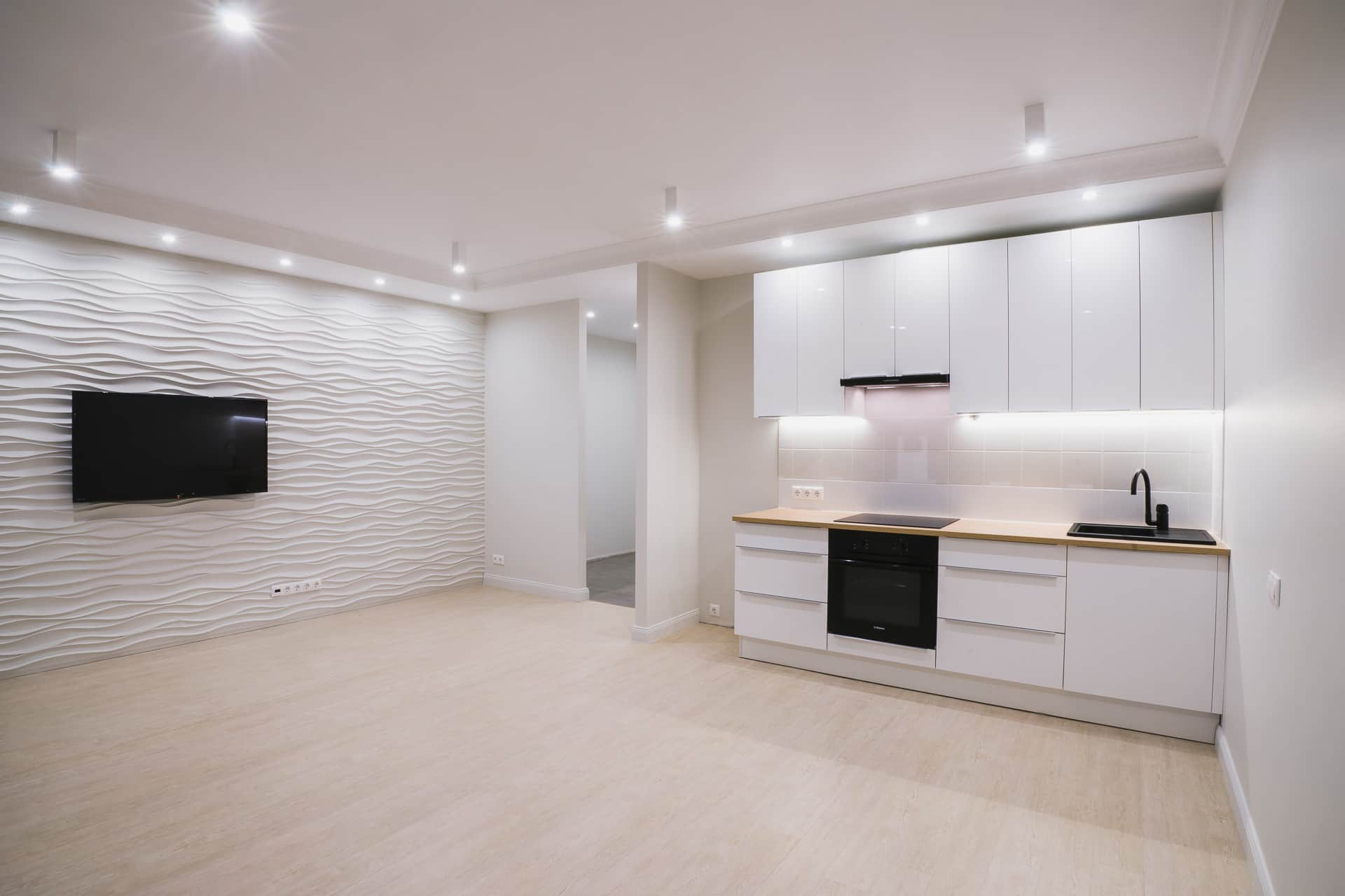 Don't Move, Improve: Easy Ways To Change The Look And Feel Of Your Old Home. Staged apartment with fresh renovation in pastel colors and full of LED lighting