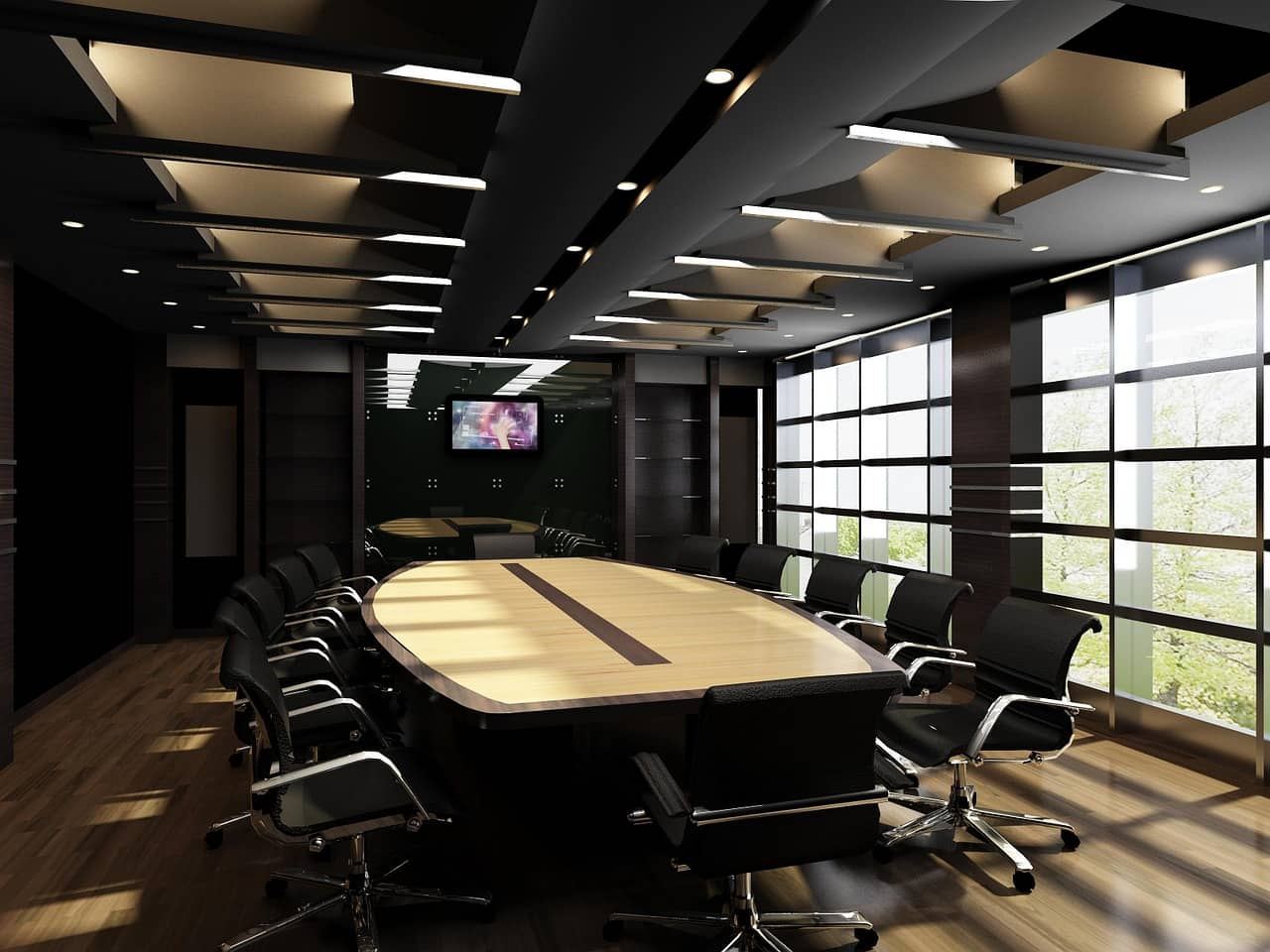 How Interior Design Can Help Your Businessю Big conference hall with dark walls and full of light through panoramic sash windows