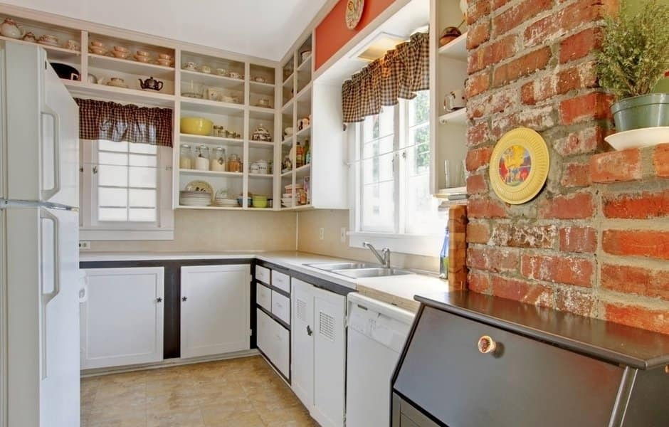 How to Remodel Your Kitchen In a Single Weekend. Brickwork wall and simple decoration for l-shaped furniture set with open shelves