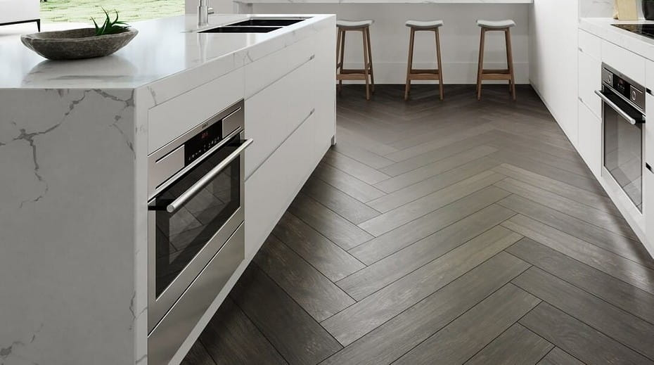 How to Remodel Your Kitchen In a Single Weekend. Hardwood parquet of noble oak tint in the modern styled kitchen