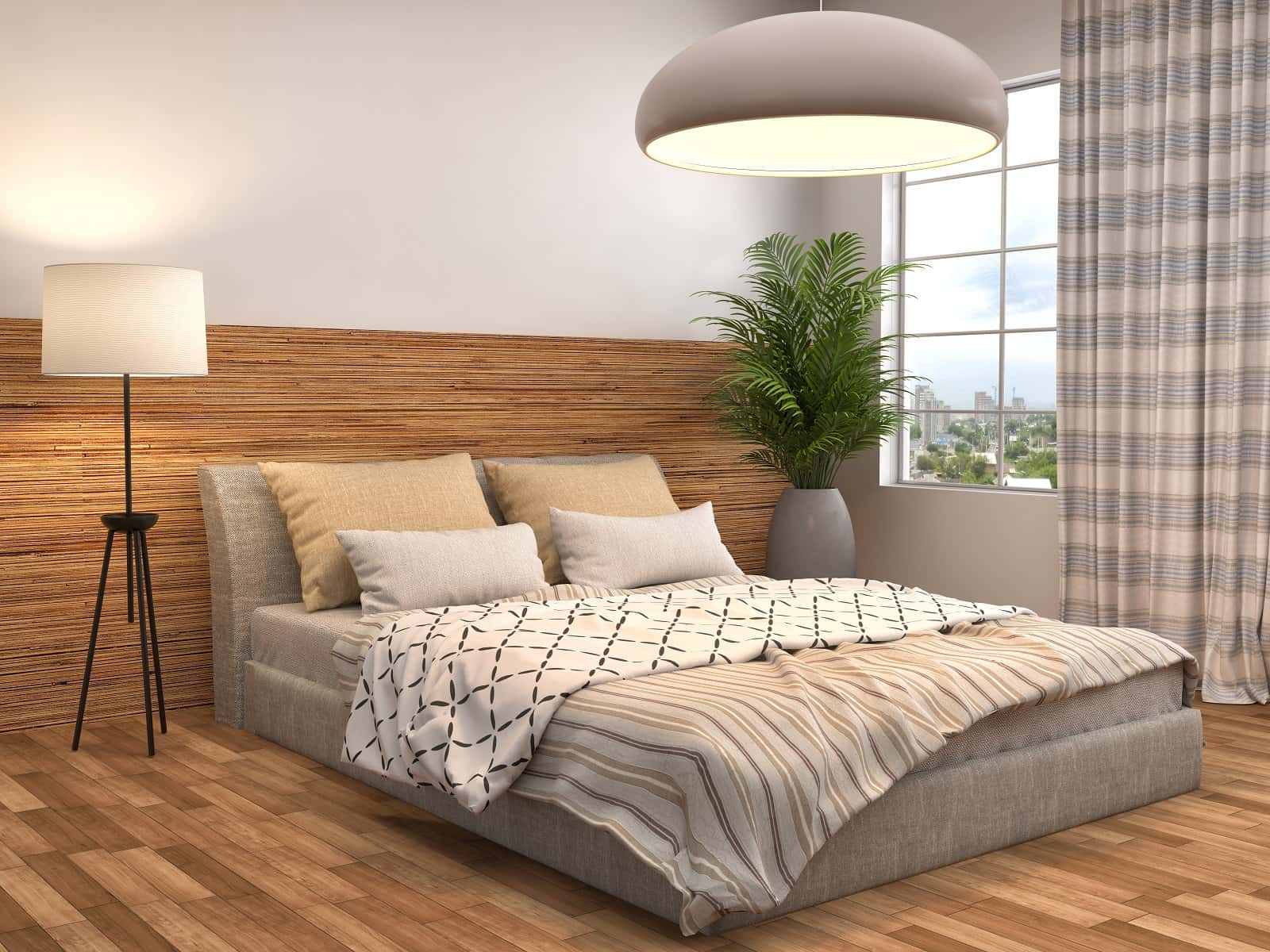 How To Find The Perfect Bedding For Your Room. Contemporary styled bedroom with platform bed and big gray semispheric shade of the lamp